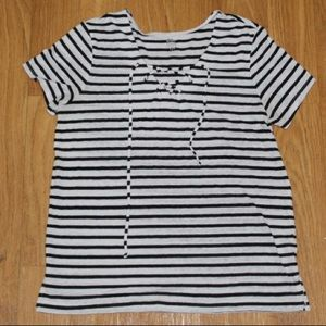 Black and White Striped Women's T-Shirt